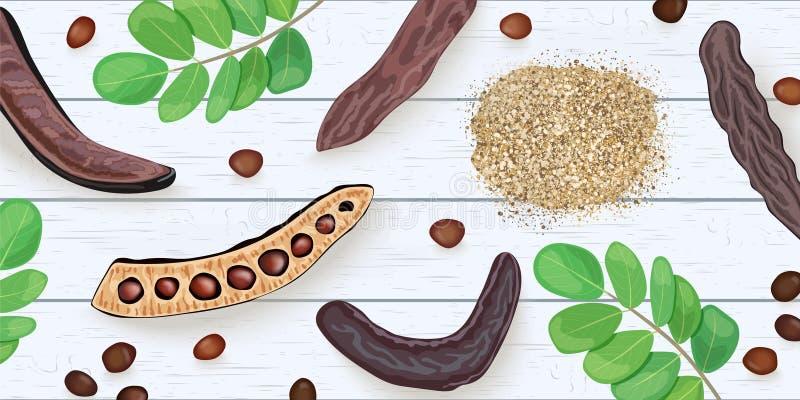 Зрелые ветви Carob, семена, сладкие стручки, порошок, листья на на белом деревянном затрапезном столе иллюстрация вектора