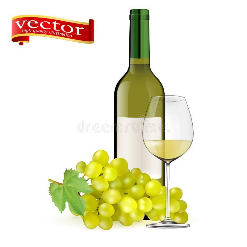 Зрелые виноградины, бокал и бутылки вина на белизне белое вино Стекла, бутылка, виноградины иллюстрация штока