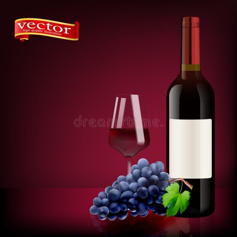 Зрелые виноградины, бокал и бутылки вина на белизне изолированное вино waite om красное Стекла, бутылка, виноградины иллюстрация вектора