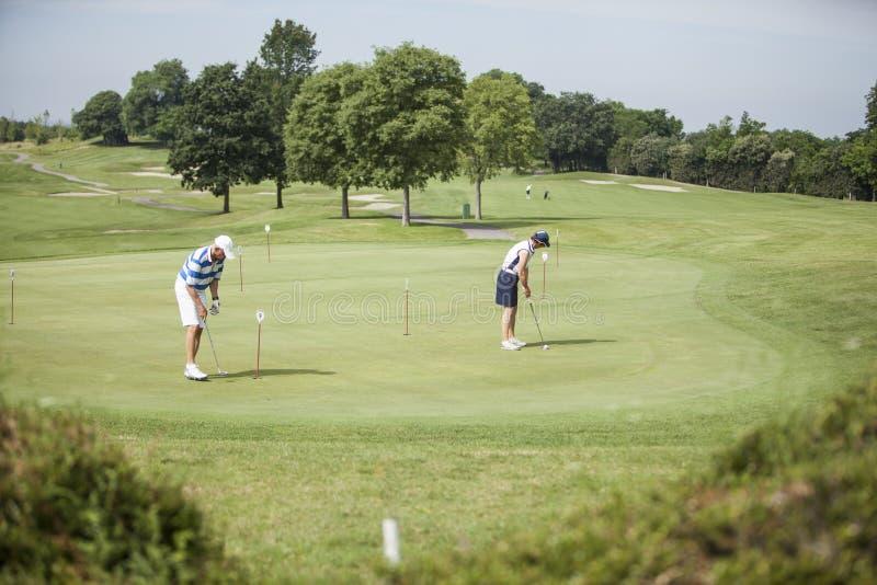 Зрелые игроки гольфа пар стоковые фото