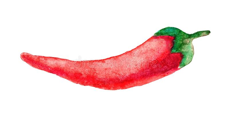 Зрелые накаленные докрасна перцы chili в стиле акварели изолированные на белой предпосылке Эскиз гореть пряного мексиканца Кайенн иллюстрация вектора