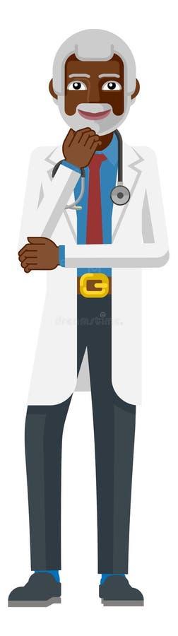 Зрелый талисман мультфильма врача иллюстрация вектора