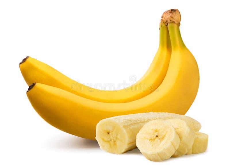 2 зрелых банана и почищенных щеткой части близко вверх на белизне изолировано стоковые изображения rf