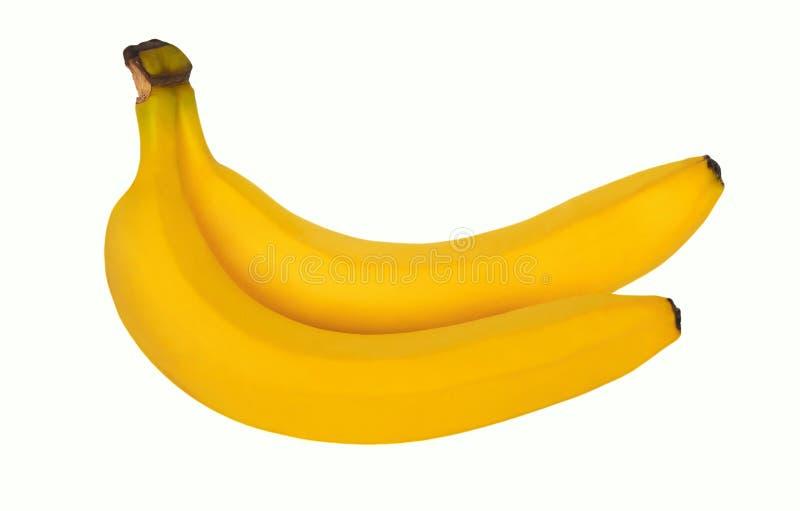 2 зрелых желтых сладких банана изолированного на белой предпосылке стоковые фото