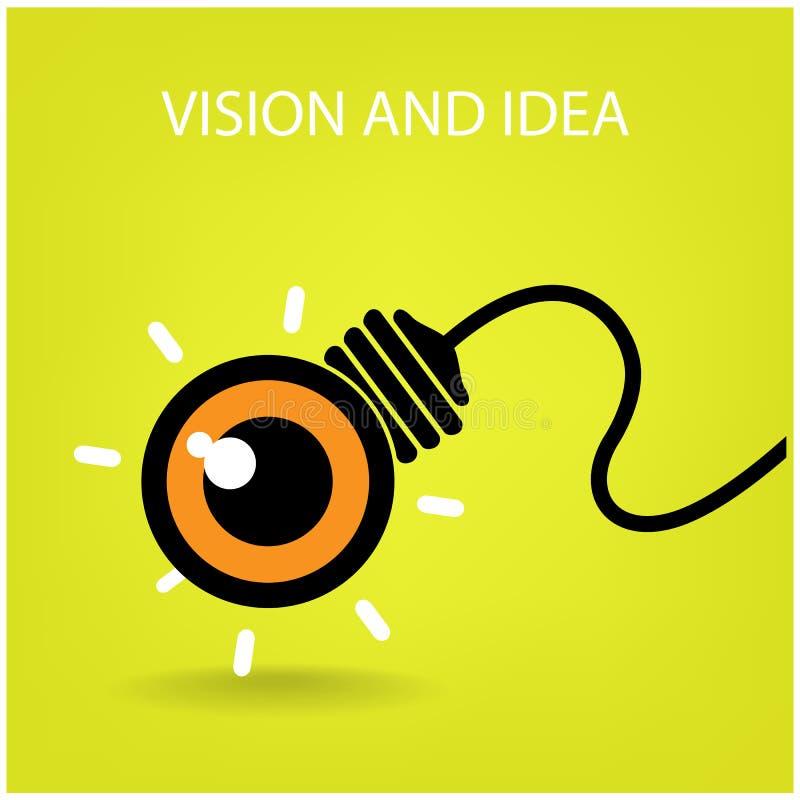 Зрение и идеи подписывают, значок глаза и символ дела, электрическая лампочка s бесплатная иллюстрация