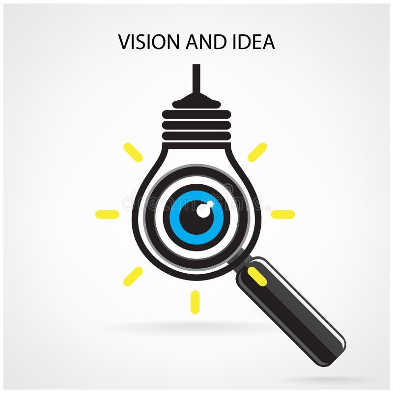 Зрение и идеи подписывают, значок глаза, символ электрической лампочки, символ поиска иллюстрация штока