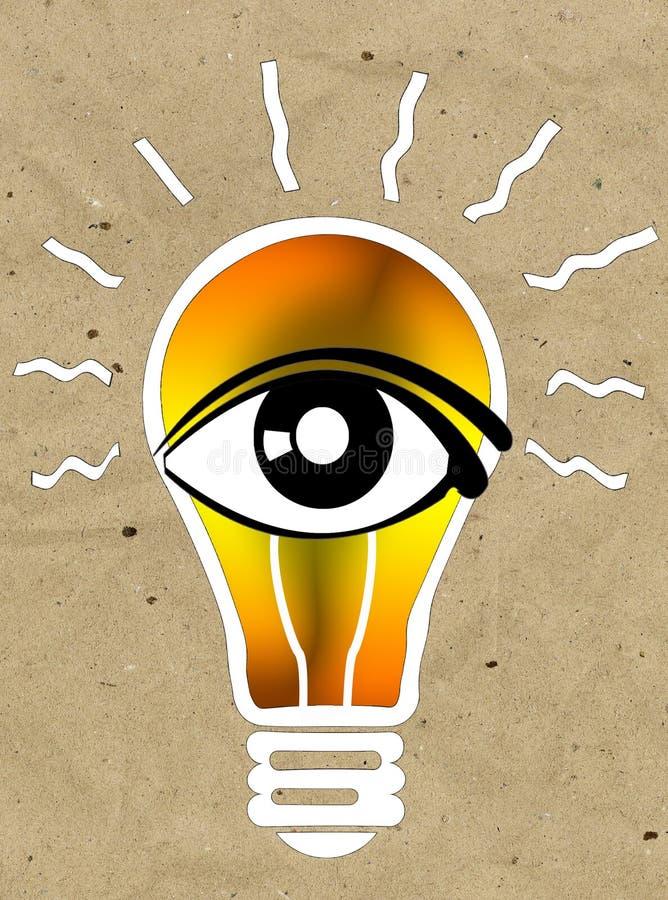 Зрение и идеи подписывают, значок глаза, символ электрической лампочки, символ поиска бесплатная иллюстрация