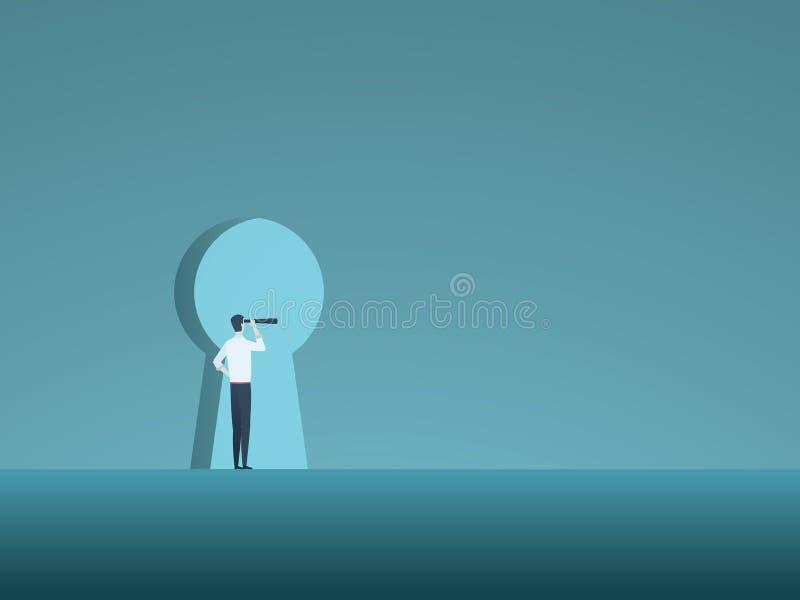 Зрение и решение дела vector концепция при бизнесмен смотря через keyhole Символ нововведения, возможности иллюстрация вектора