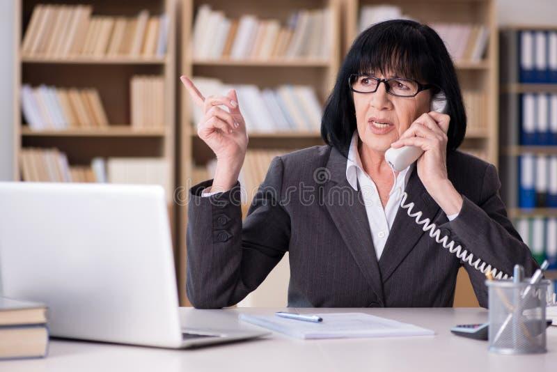 Зрелая коммерсантка работая в офисе стоковая фотография rf