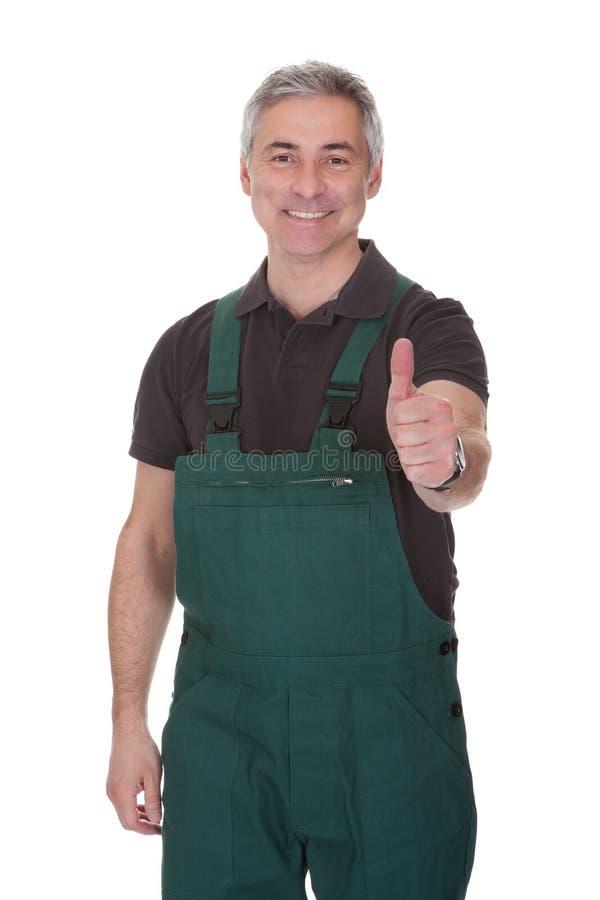 Зрелое мужское gardner показывая большой палец руки вверх по знаку стоковые фотографии rf