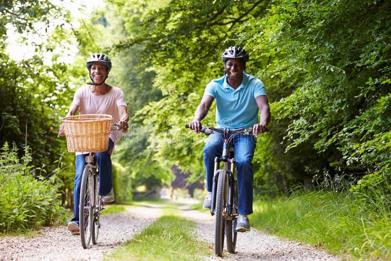 Зрелые Афро-американские пары на езде цикла в сельской местности стоковые фото