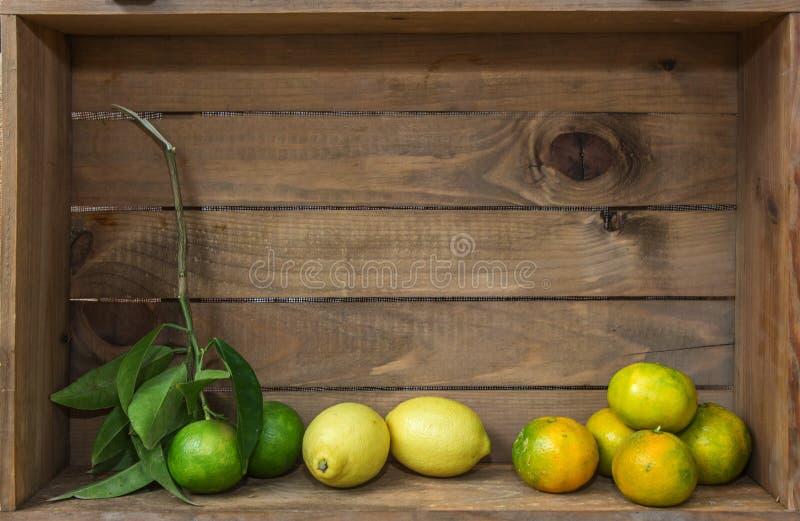 Зрелые сладостный лимон и tangerine с листьями на деревянной доске стоковые изображения
