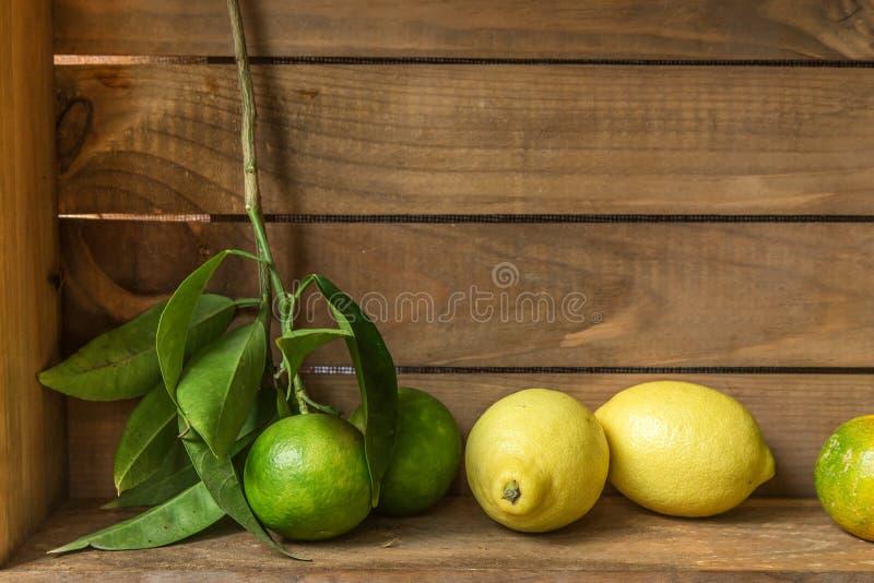 Зрелые сладостный лимон и tangerine с листьями на деревянной доске стоковая фотография