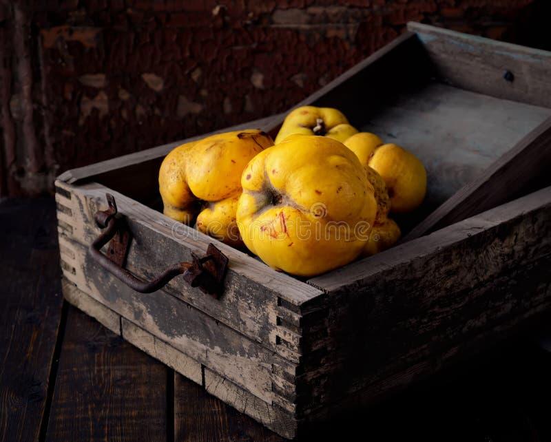 Зрелые душистые айвы в деревянной коробке на черной предпосылке стоковое фото rf