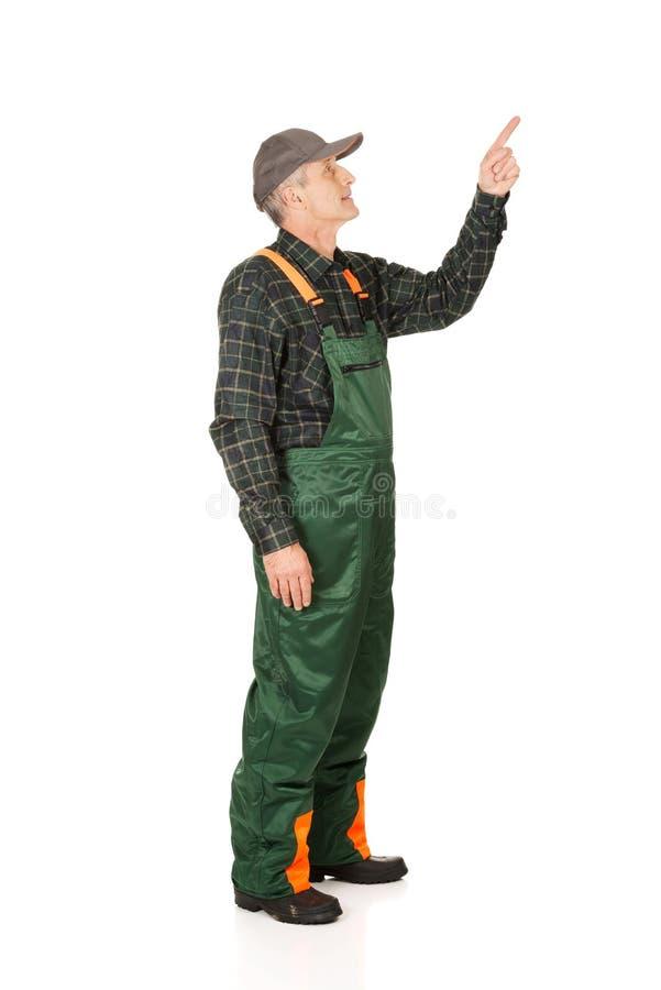 Зрелый садовник в форме указывая вверх стоковая фотография rf