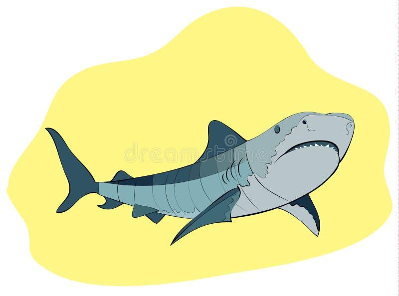 Зубастое плавание акулы на желтой предпосылке, иллюстрации вектора иллюстрация вектора