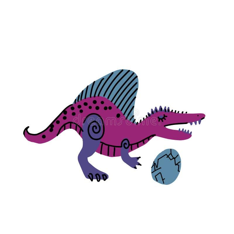Зубастый динозавр с характером вектора руки цвета яйца вычерченным Милая линия и плоский динозавр Гад эскиза юрский Изолированный бесплатная иллюстрация