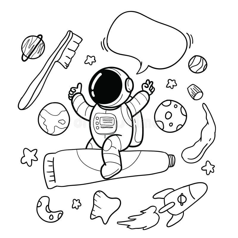 Зубная щетка астронавта руки вычерченная иллюстрация вектора