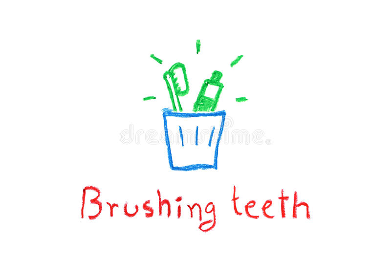 Зубная щетка и зубная паста в стекле для чистя щеткой зубов - чертеже crayon стоковые изображения rf