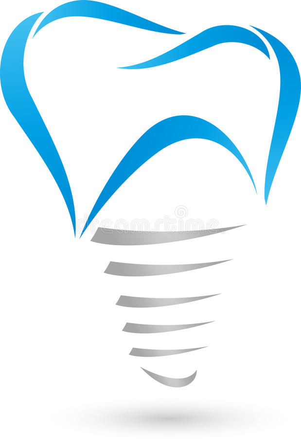 Зубной имплантат, логотип дантиста бесплатная иллюстрация
