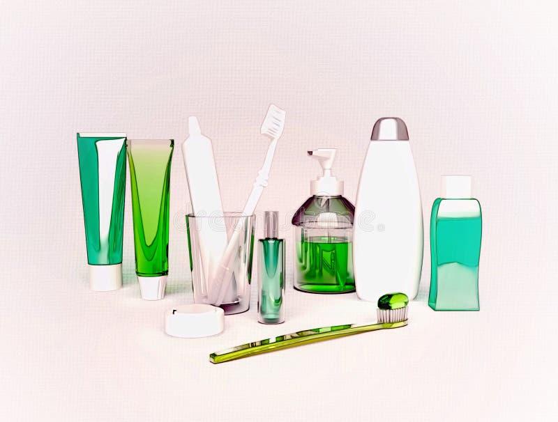 Зубные щетки, зубная паста, мыло, полотенце расположены на свете - серой предпосылке стоковая фотография