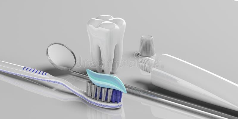 Зубоврачебная внимательность Зубная паста на зубной щетке, модели зуба и зеркале дантиста, серой предпосылке, знамени иллюстрация иллюстрация штока