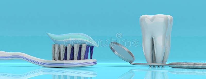 Зубоврачебная внимательность Зубная паста на зубной щетке, модели зуба и зеркале дантиста, голубой предпосылке, знамени иллюстрац иллюстрация вектора