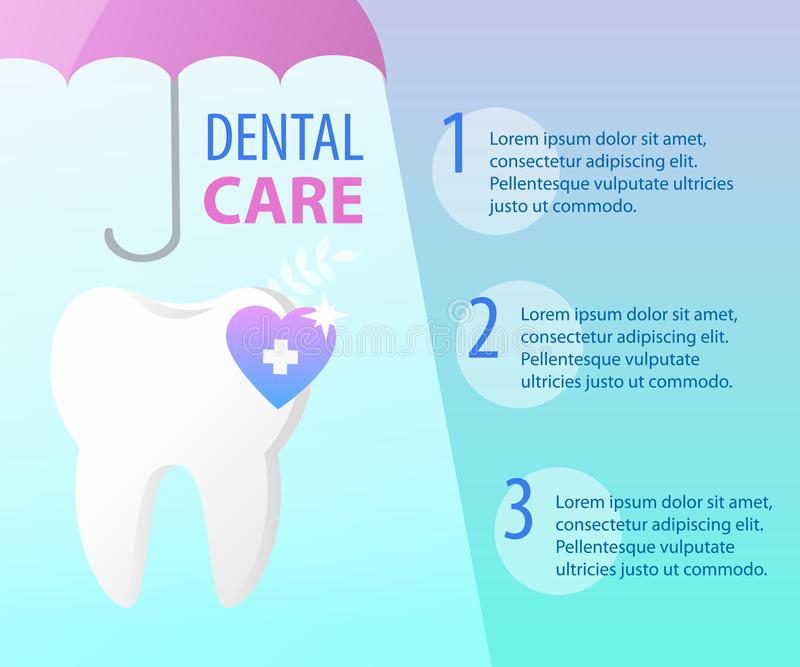 Зубоврачебная концепция предохранения от зонтика здоровья зуба иллюстрация штока