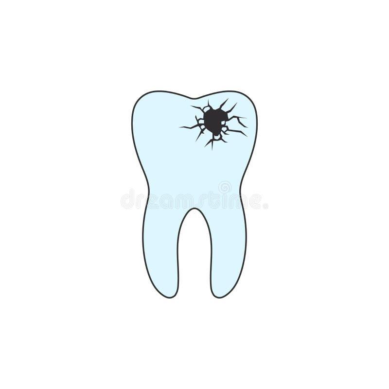 Зубоврачебная костоеда, toothache, больные зубы, известняк больной зуб и ротовая полость на голубой предпосылке изолированная илл иллюстрация штока