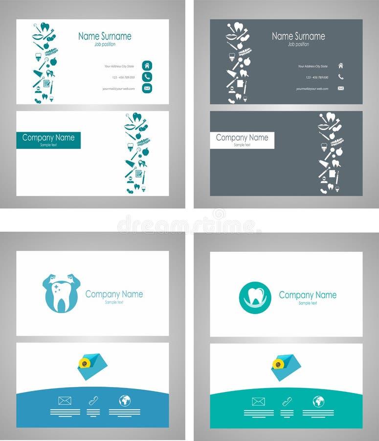 Зубоврачебная установленная визитная карточка - иллюстрация вектора бесплатная иллюстрация