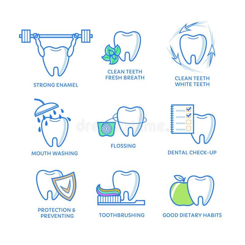Зубоврачебные значки Зуб с зубочисткой, мятой, mouthwash, щеткой, яблоком, изолированным на белизне иллюстрация вектора