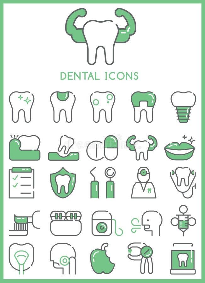 Зубоврачебные установленные значки иллюстрация вектора