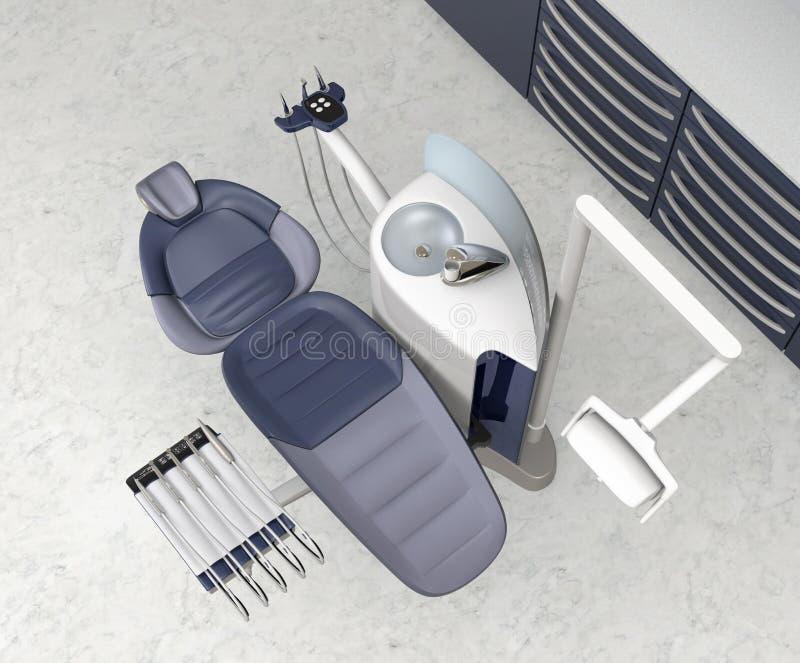 Зубоврачебный интерьер офиса с металлическими голубыми оборудованием и шкафом блока иллюстрация штока