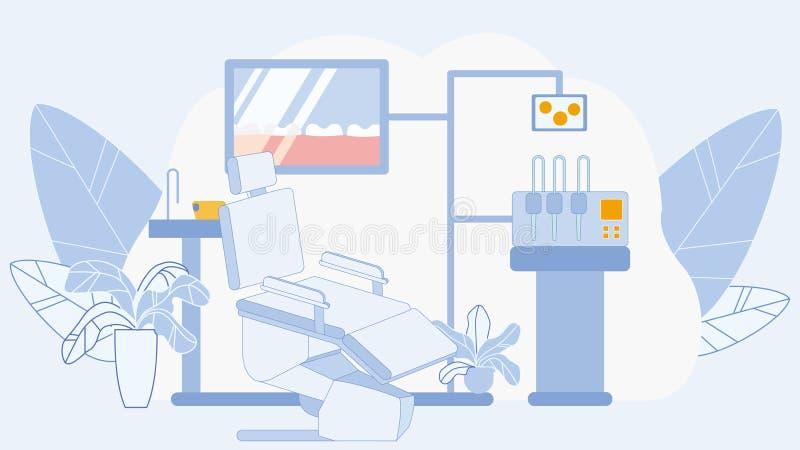 Зубоврачебный офис в иллюстрации вектора клиники плоской бесплатная иллюстрация