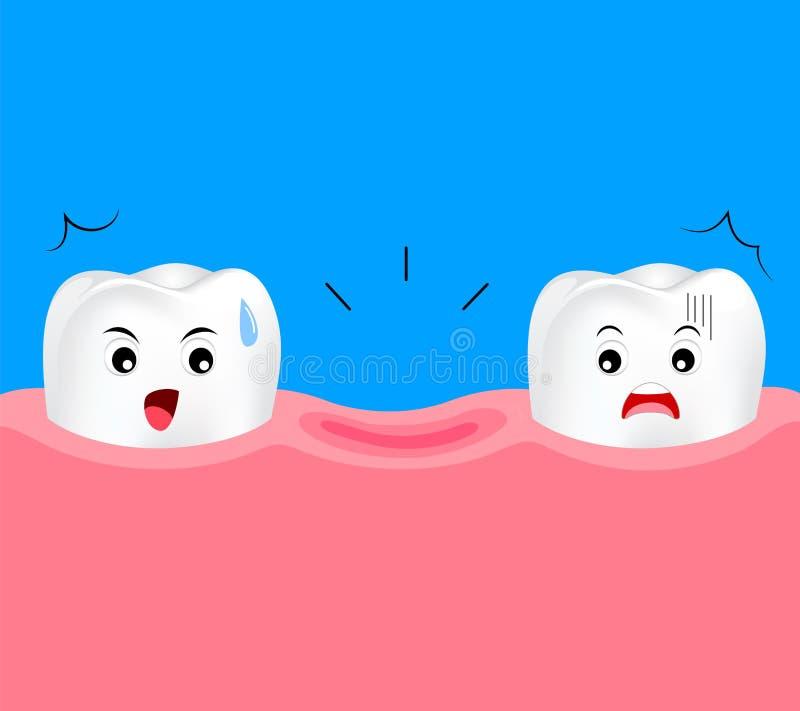 Зубоврачебный шарж отсутствующего зуба иллюстрация штока