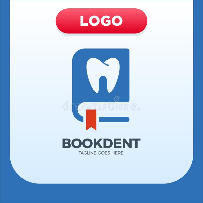 Зубоврачебный элемент дизайна логотипа значка книги клиники иллюстрация вектора
