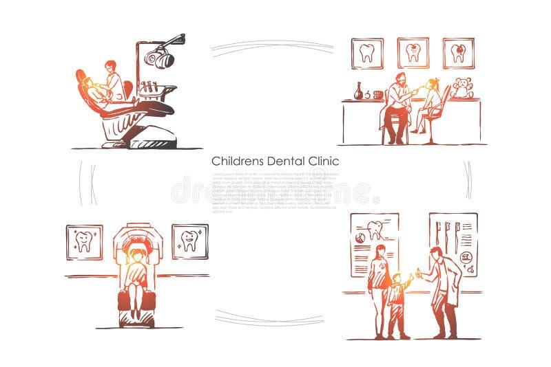 Зубоврачевание, зубы проверка, пациент в стуле, доктор и ребенк в стоматологии, шаблоне знамени больницы иллюстрация штока