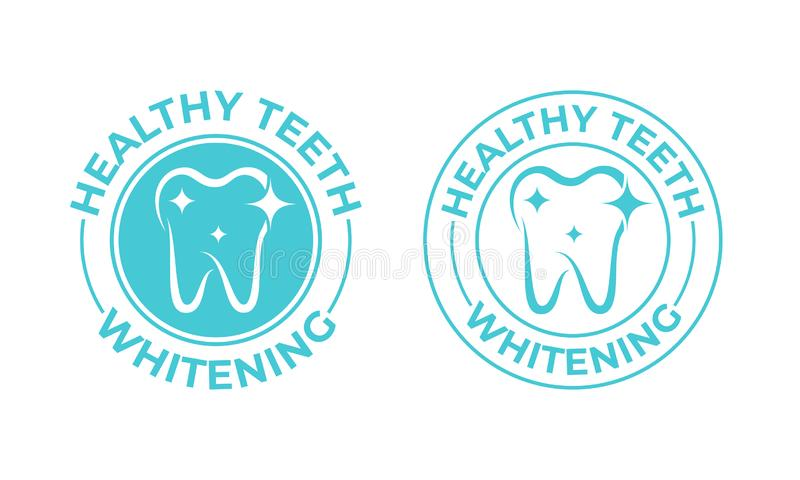 Зубы забеливая, значок вектора зуба Здоровый безопасный зуб забеливая логотип, зубную пасту и зубоврачебный ярлык пакета mouthwas бесплатная иллюстрация