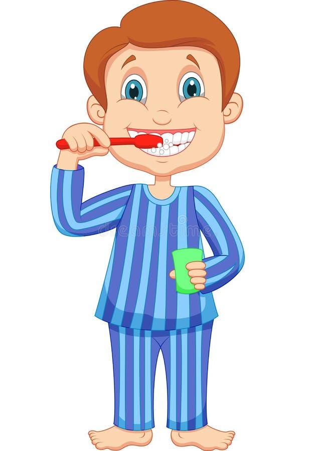 Зубы милого шаржа мальчика чистя щеткой иллюстрация штока