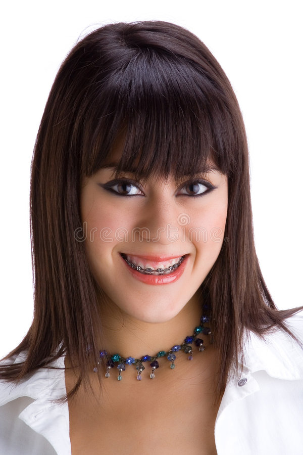 зубы 1 красивейшие брюнет кронштейнов молодые стоковая фотография