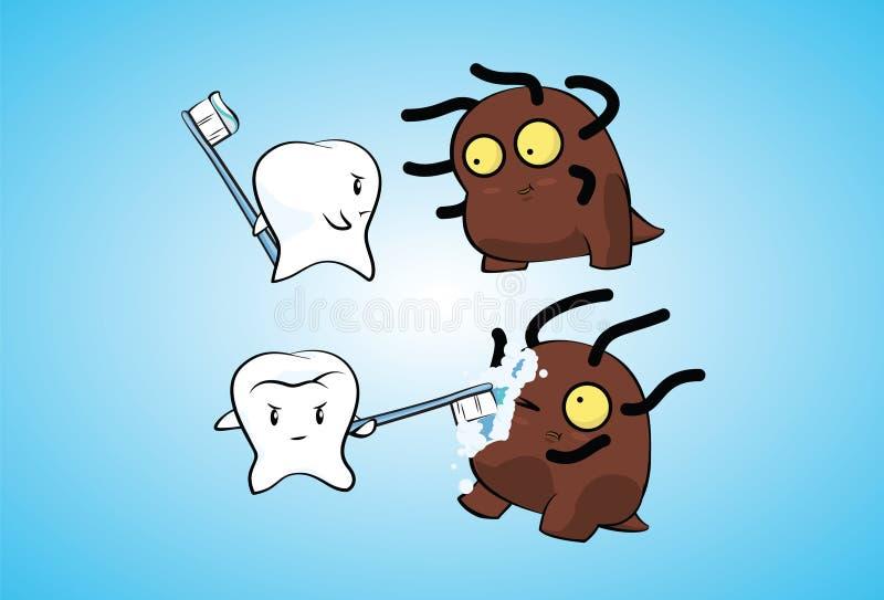 Зуб воюет бактерии стоковые фотографии rf