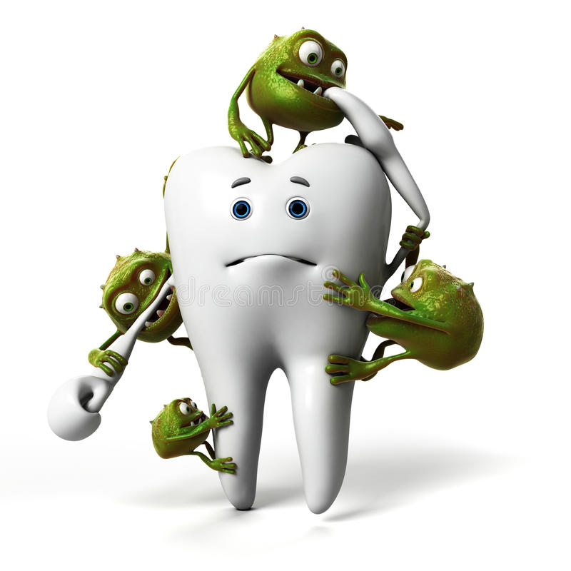 Зуб и бактерии иллюстрация штока