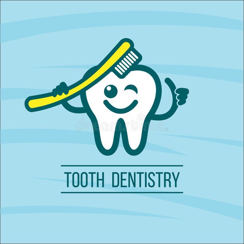 Зуб и зубная щетка дантиста Логотип вектора зубоврачебной клиники иллюстрация вектора