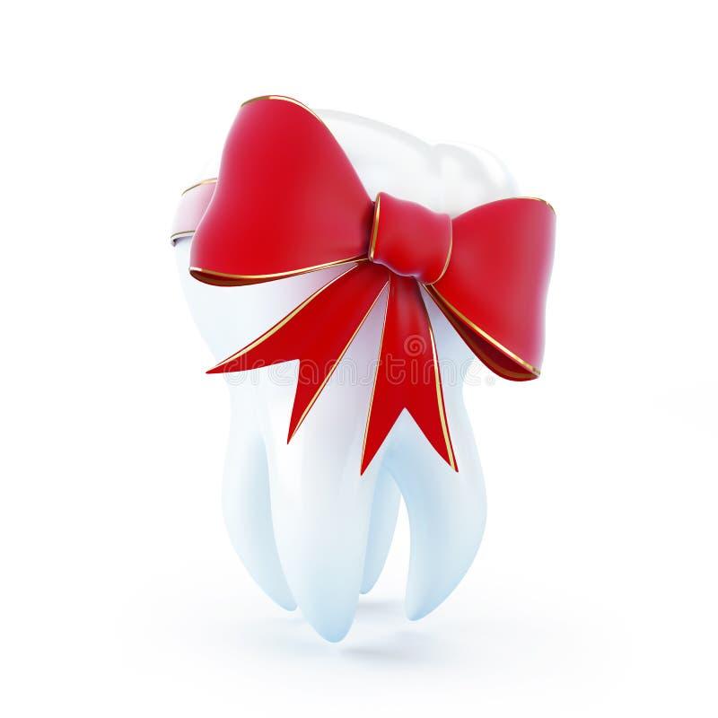 зуб красного цвета подарка смычка иллюстрация штока