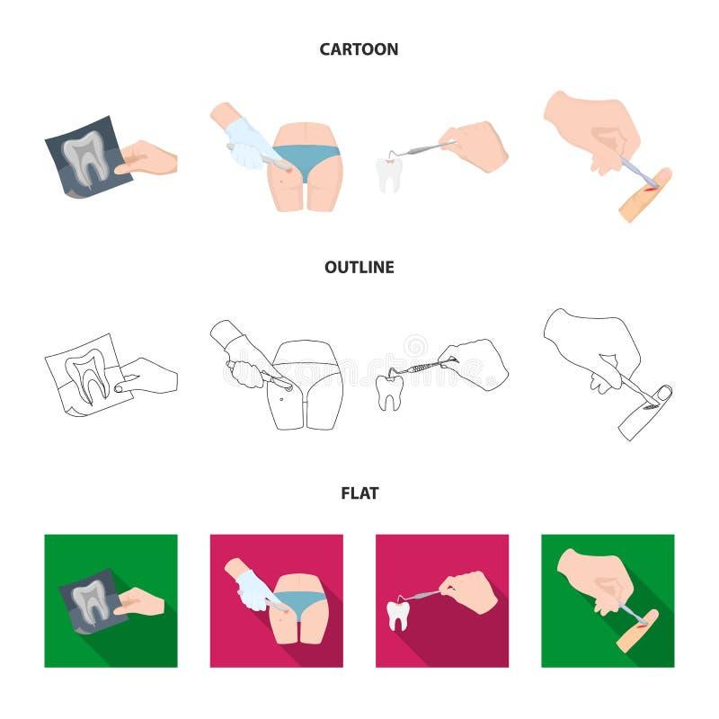 Зуб, рентгеновский снимок, аппаратура, дантист и другой значок сети в шарже, плане, плоском стиле хирург, нарыв, значки скальпеля иллюстрация вектора