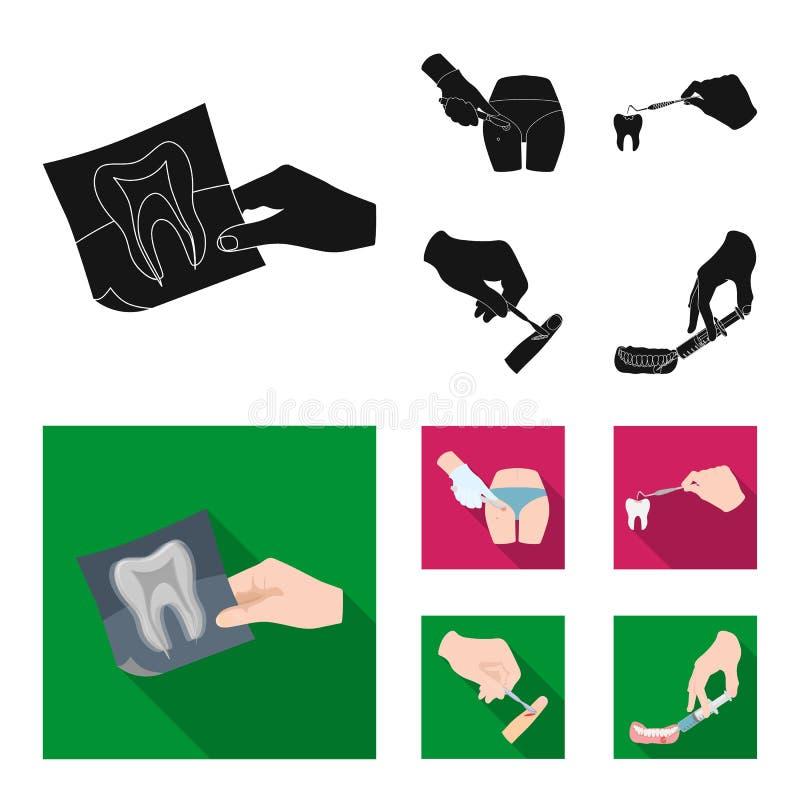 Зуб, рентгеновский снимок, аппаратура, дантист и другой значок сети в черном, плоском стиле хирург, нарыв, значки скальпеля в ком бесплатная иллюстрация