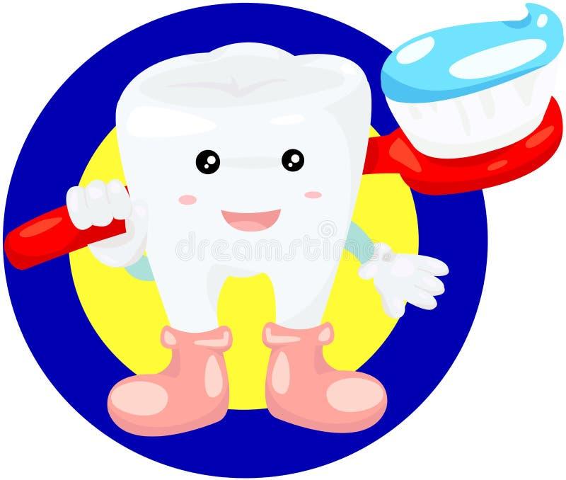 Зуб с зубной щеткой иллюстрация вектора