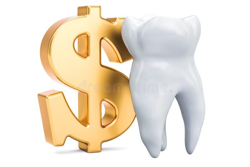 Зуб с символом доллара Цена концепции зубоврачебных обслуживаний, 3D иллюстрация штока