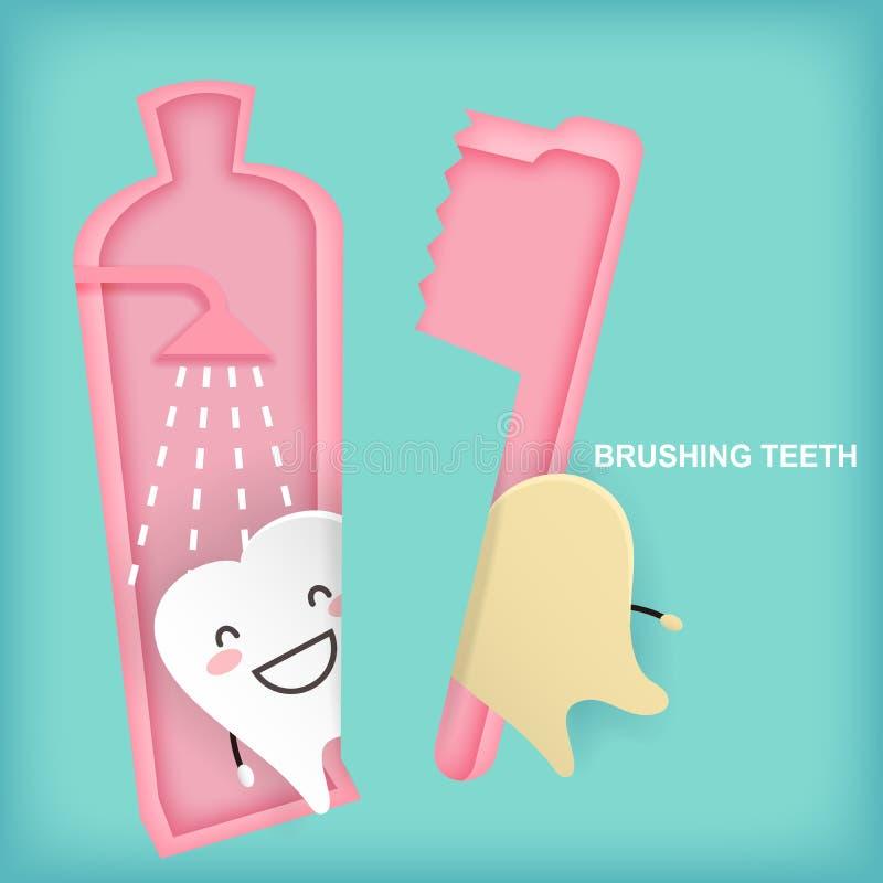 Зуб с чистя щеткой концепцией иллюстрация вектора