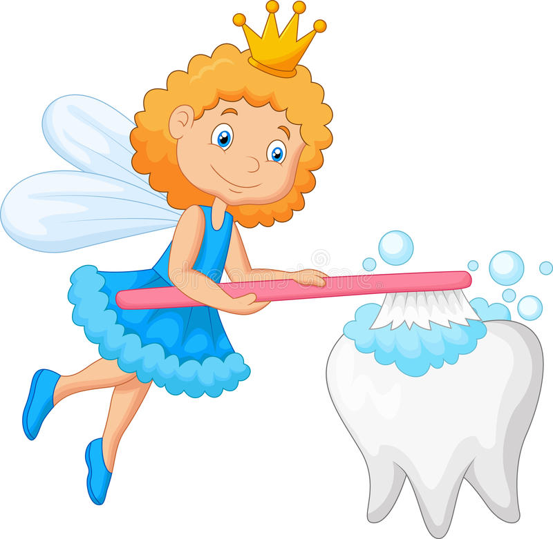 Зуб феи зуба чистя щеткой иллюстрация штока